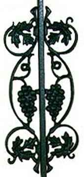 Wrought Iron Grapes Panel