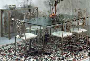 Large rose pattern wrought iron dining set of chairs with table and glass