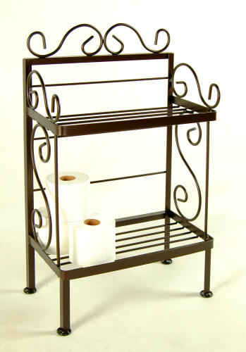 18 inch wide bathroom shelf rack in Deep Bronze finish