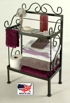 18 inch wrought iron bathroom storage rack in black finish