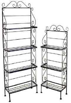 18 and 24 inch wrought iron bakers racks with scrolls