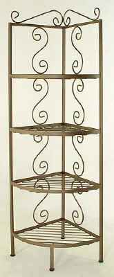 Corner wrought iron bakers rack