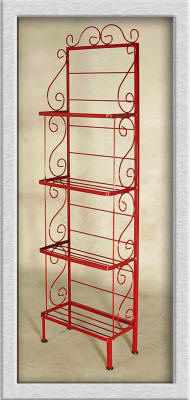 18 inch light wrought iron bakers rack in red with 4 shelves