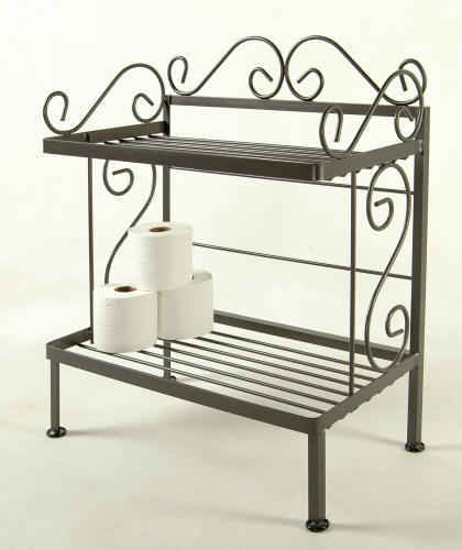 24 inch 2 shelf bathroom rack in the gun maetal finish