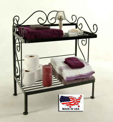 24  inch 2 shelf bath rack with towels and toiletries