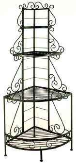Wrought iron fancy French corner bakers rack