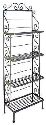 24 inch wrought iron bakers rack in gun metal finish