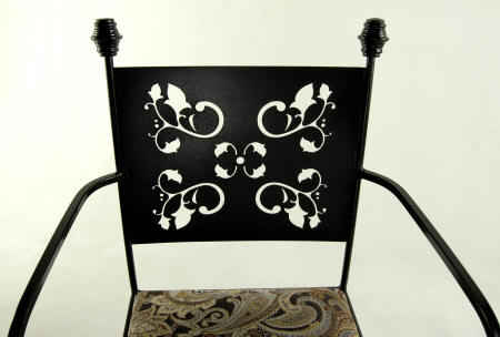 wrought iron dining chair seat and back closeup