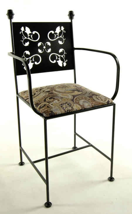 Leaves pattern wrought iron dining chair