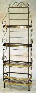 30 inch wrought iron bow front bakers rack with brass accents