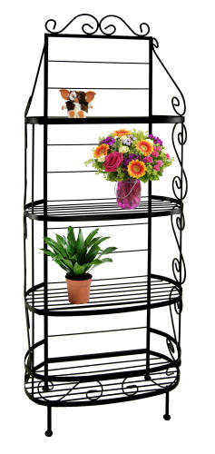 30 inch box front French wrought iron bakers rack