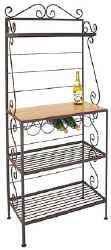 Gourmet bakers rack with iron frame and wood shelf