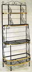 French wrought iron bakers rack with brass trim accents