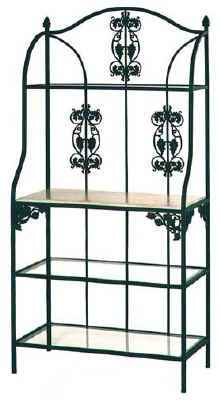 Wrought iron vineyard grapes bakers racks with tempered glass and wood shelves