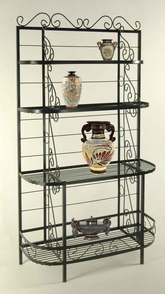 48 inch fanch French bow bakers rack in black with vases