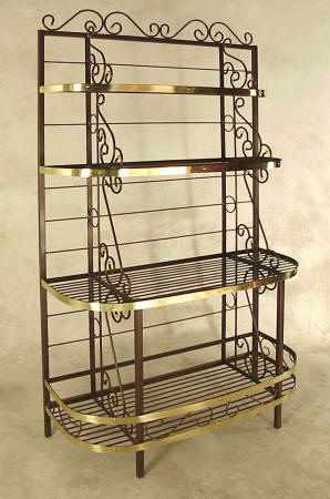 48 Invh French Bow front wrought iron bakers rack with brass accents
