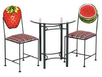 Strawberry and watermelon hand painted chairs with glass table base