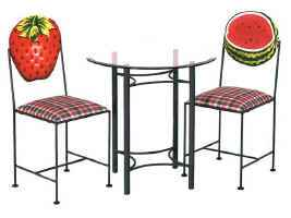 Strawberry and watermelon fruit hand painted chairs with table and glass