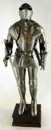 Medieval armor knight the Sentinel with sword and stand