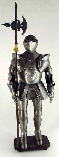 Suit of armor with halberd medieval pole axe weapon