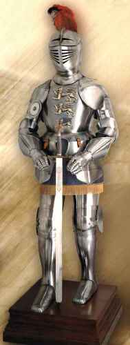 Spanish suit of armor with wood stand and medieval sword