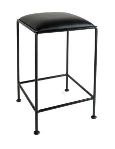 24 inch wrought iron, backless counter stool in black and black fabric