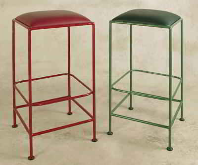 Backless wrought iron bar stools in standard frame