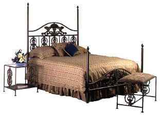 Harvest queen wrought iron bed with night satnd and bench