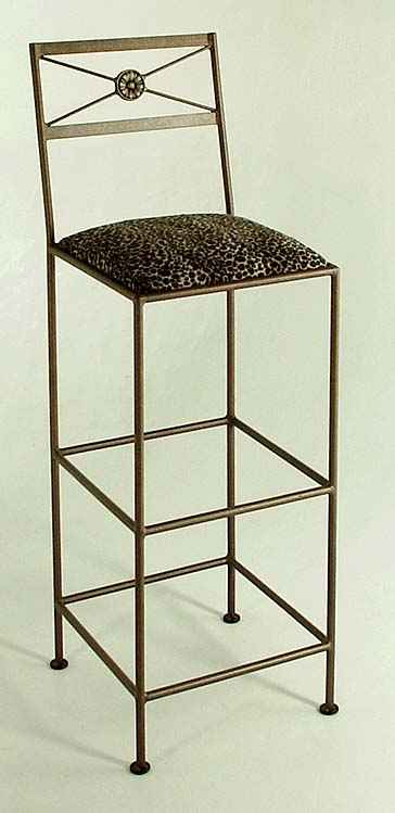 Modern Neoclic Bar Stool In Extra Tall Height With Upholstered Seat Cushion