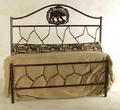 Rustic lodge bear metal bed