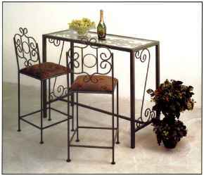 Wrought iron bar with glass top and French traditional bar stools