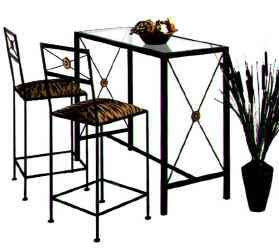 Wrought Iron Bar and Stools