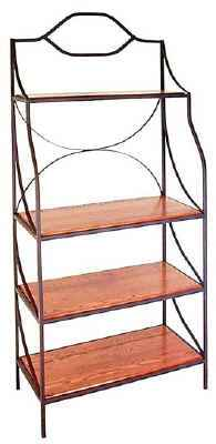 Contemporary metal bakers rack with solid oak wood shelves