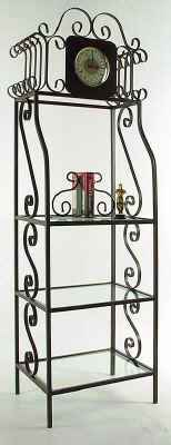 Wrought iron clock bakers rack