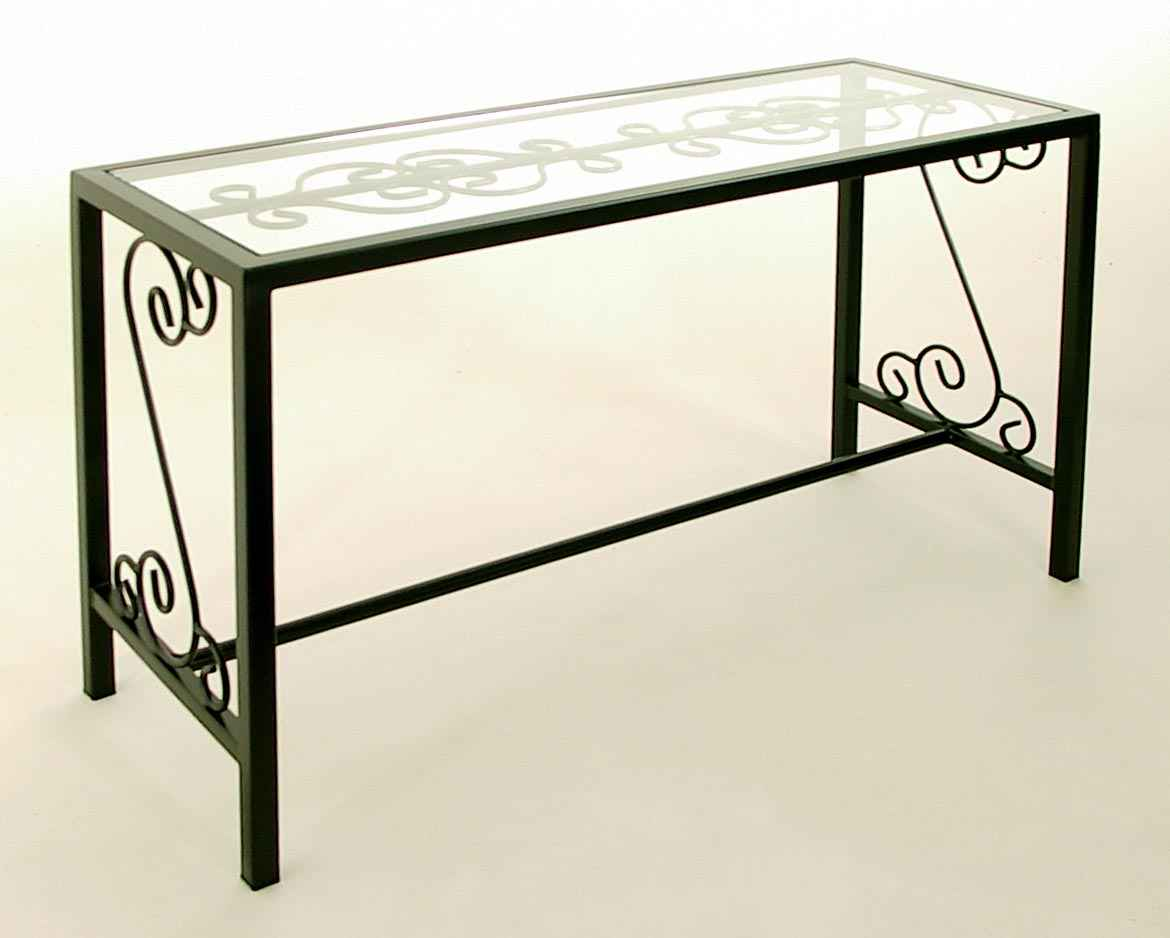 903a88b4c3f5 French Traditional console table in iron with glass top insert