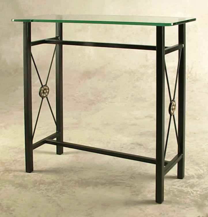Small Wrought Iron Console Table With Gl