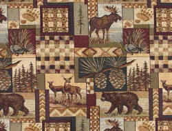Cabin rustic theme wovwen fabric with bear, deer, moose, wolf and elk animal images