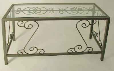 Wrought iron desk with glass top