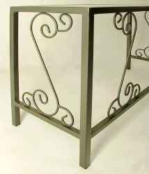 French Traditional wrougth iron desk side view