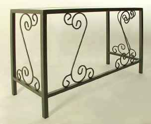Wrought iron desk with glass corner view
