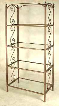Wrought iron French styled etagere with tempered glass