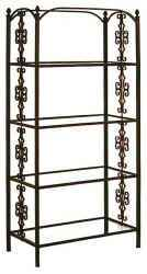 Wrought iron Etagere with tempered glass shelves