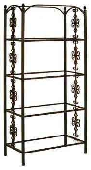 Gothic etagere with tempered glass shelves