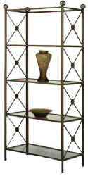Modern neoclassic style wrought i=ron display etagere with tempered glass shelves