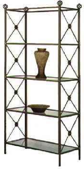 Modern wrought iron etagere with tempered glass shelves