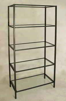 Display Fixture Etagere in Wrought Iron Black Finish with glass shelves