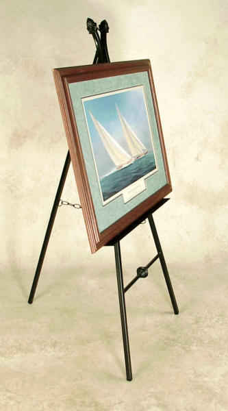 Wrought iron picture easel with framed print