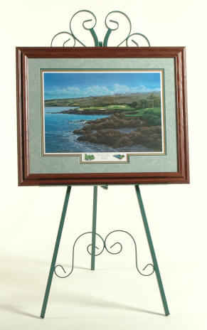 Easel in jade finish with framed art
