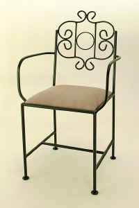 French wrought iron chair with arms