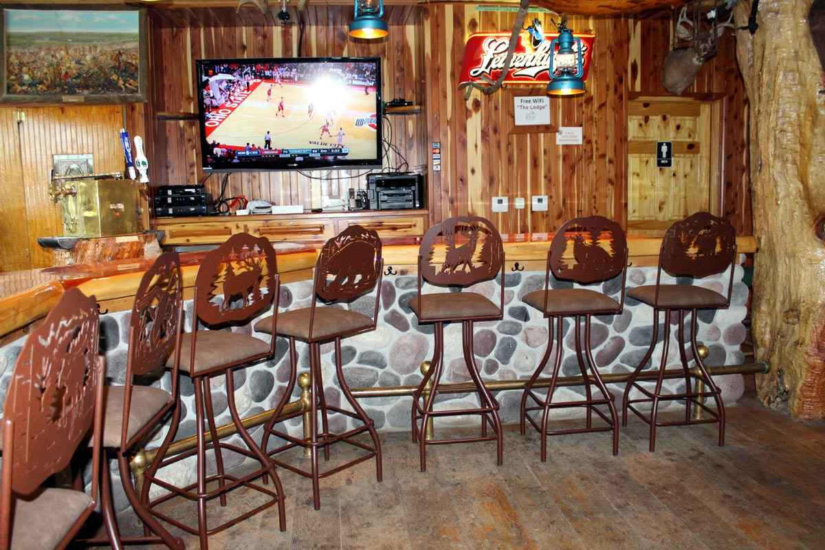Grace Lodge Bar Stools around rustic bar